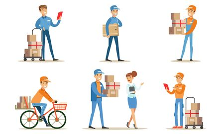 Illustration for Delivery Service and Logistics Set, Couriers Characters Delivering Packages to Clients Vector Illustration on White Background. - Royalty Free Image