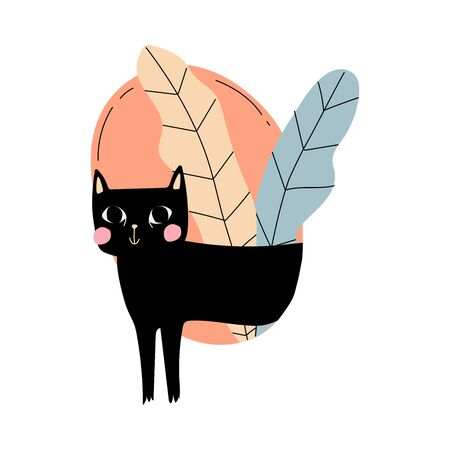 Ilustración de Black cat with pink cheeks comes out of the circle with leaves cartoon vector illustration on a white background - Imagen libre de derechos