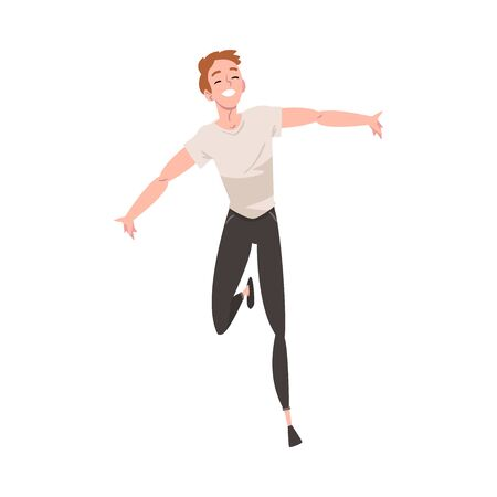 Illustration for Smiling Young Man Running with Arms Outstretched, Happy Positive Person Character Rejoicing Vector Illustration on White Background. - Royalty Free Image