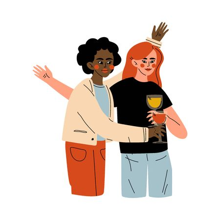 Girls Celebrating an Important Event, Young Women Clinking Glasses and Drinking Alcohol at Party Vector Illustration