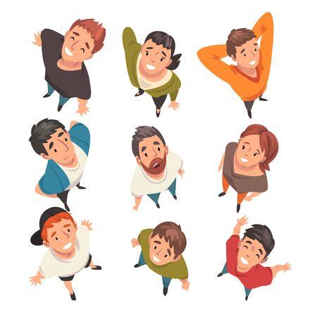 Ilustración de Smiling People Characters Looking Up Set, View from Above Vector Illustration on White Background. - Imagen libre de derechos