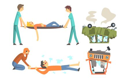 Illustration pour Wrecked cars after the accident are turned upside down. Doctors carry the victim on a stretcher. Vector illustration. - image libre de droit