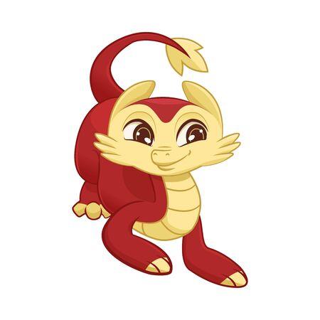 Illustration for Cute Little Dragon, Adorable Mythological Animal Character Vector Illustration - Royalty Free Image