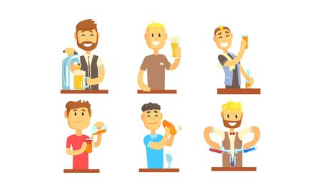 Illustration pour Barman Mixing and Pouring Alcoholic Beverages Vector Illustrations - image libre de droit