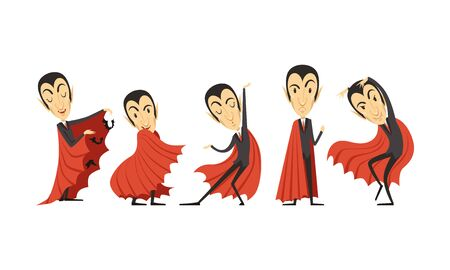 Illustration pour Count Dracula Cartoon Character in Different Poses Vector Set - image libre de droit