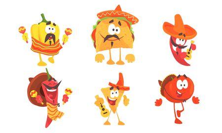 Vektor für Cartoon mexican food in poncho and sombrero. Set of vector illustrations. - Lizenzfreies Bild