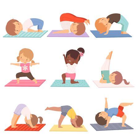 Illustration pour Cute Kids Practicing Yoga Exercises Collection, Active Healthy Lifestyle Vector Illustration on White Background. - image libre de droit