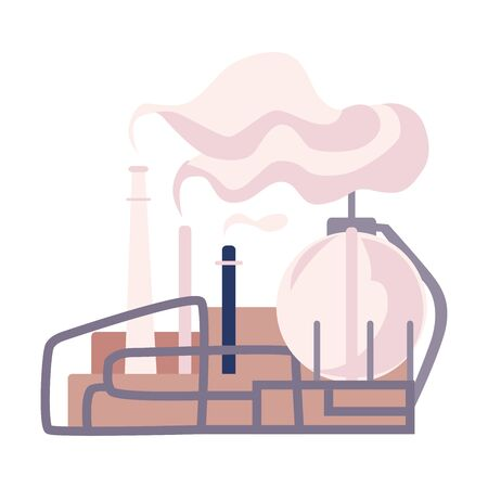 Illustration pour Environmental Pollution and Its Source Vector Illustration. Air Pollution Because of Smoke from Plant Emission - image libre de droit