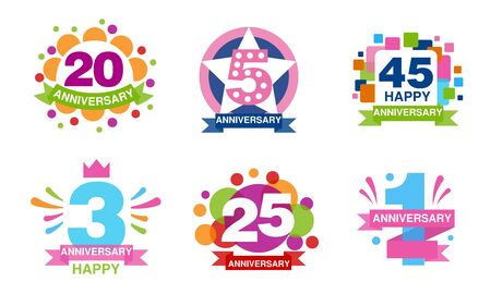 Illustration for Colorful Anniversary Labels Collection, 20, 5, 45, 3, 25, 1 Years Celebration Badges Vector Illustration - Royalty Free Image