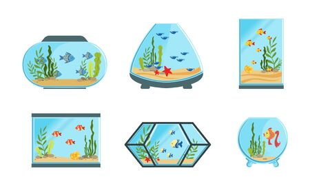 Illustration pour Collection of Aquarium Tanks of Different Shapes with Cute Fishes and Seaweeds Vector Illustration - image libre de droit