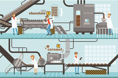 Illustration for Chocolate and Caramel Factory Production Process Set, Sweets Confectionery Industry Equipment Vector Illustration - Royalty Free Image