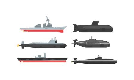 Illustration pour Naval Combat Ships and Submarines Collection, Military Boats, Frigates, Battleships Vector Illustration - image libre de droit
