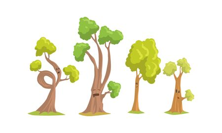 Foto per Funny Trees Cartoon Characters Collection, Comic Trees Showing Various Emotions Vector Illustration - Immagine Royalty Free