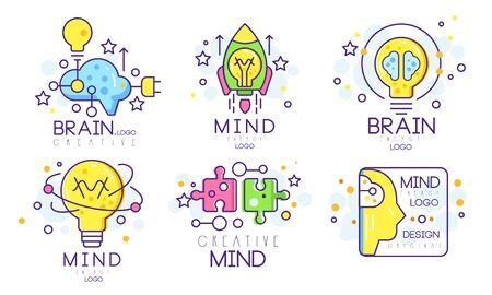 Illustration pour Mind Energy Original   Design Templates Collection, Creative Brain Vector Illustration Isolated on White Background. - image libre de droit