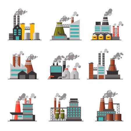 Illustration for Power Plants Collection, Industrial Chemical or Refinery Factory Buildings with Smoking Chimneys Flat Vector Illustration on White Background. - Royalty Free Image