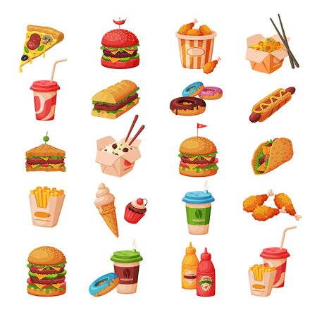 Illustration for Fast Food Dishes with Drinks and Desserts Collection, Objects for Cafe or Restaurant Menu Vector Illustration on White Background. - Royalty Free Image