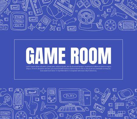 Illustration pour Inscription Games Room. Vector illustration on a blue background. - image libre de droit