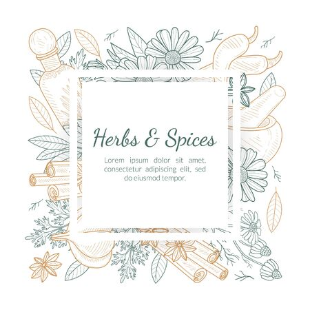Illustration for Herbs and Spices Banner Template with Natural Products Seamless Pattern and Space for Text Hand Drawn Vector Illustration - Royalty Free Image