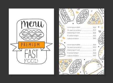 Illustration pour Fast Food Premium Menu Template, Restaurant or Cafe Design Element Linear Vector Illustration - image libre de droit