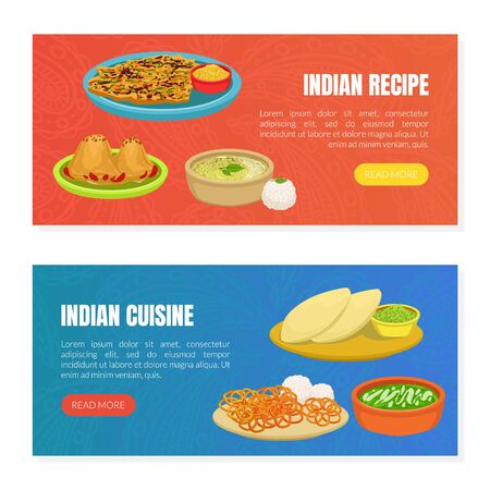 Illustration pour Indian Cuisine and Recipes Landing Page Templates Set, Traditional Asian Tasty Dishes, Ordering Online Service, Takeaway Meal, Tasty Recipes Vector Illustration - image libre de droit