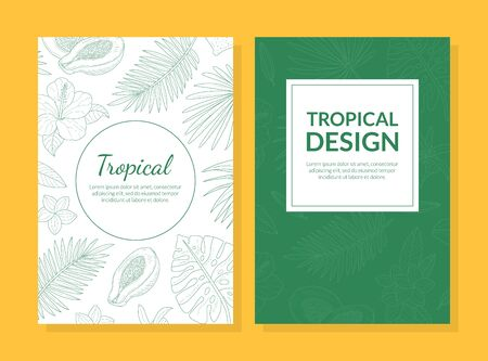 Illustration pour Tropical Design Card Template with Hand Drawn Exotic Leaves and Flowers Can be Used for Cosmetics, Health Care Products, Spa, Perfume, Wedding Invitation Vector Illustration - image libre de droit