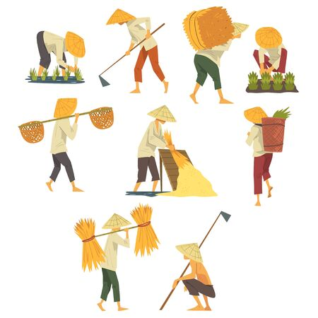 Illustration pour Asian Farmers in Straw Conical Hats Working on Field, Peasants Characters Planting and Harvesting Rice Cartoon Style Vector Illustration - image libre de droit