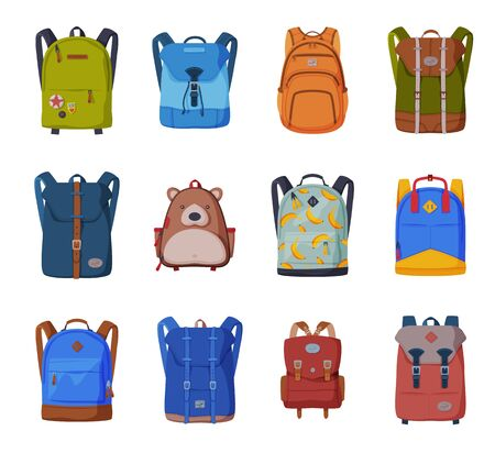 Illustration pour Backpacks for Schoolchildren or Students Collection, Front View of Travel Bags Flat Style Vector Illustration on White Background - image libre de droit