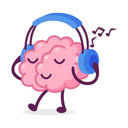 Illustration pour Pink Brain Walking and Listening Music with Headphones, Funny Human Nervous System Organ Cartoon Character Vector Illustration on White Background - image libre de droit