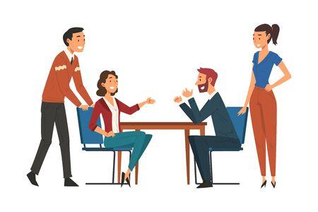 Ilustración de Business Negotiations, Business Partners Meeting, Exchanging Information, Solving Problems, Productive Partnership Cartoon Vector Illustration - Imagen libre de derechos