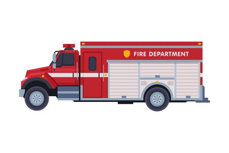 Illustration pour Red Engine Fire Truck, Emergency Service Firefighting Vehicle Flat Style Vector Illustration on White Background - image libre de droit