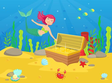 Illustration for Marine Life with Cute Little Mermaid and Treasures in Chest at Bottom of Sea Vector Illustration - Royalty Free Image