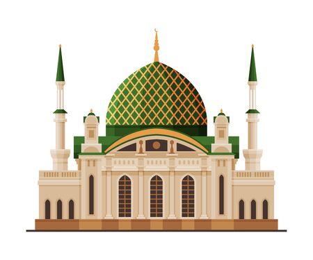 Illustration pour Sultan Qaboos Mosque, Muscat City Architecture, Travel to Oman Famous Landmark, Historical Building Flat Vector Illustration - image libre de droit