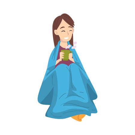 Illustration for Pretty Smiling Brunete Girl Sitting Under Plaid Enjoying Hot Drink Mug, Teenager Drinking Beverage Wrapped in Blue Blanket Vector Illustration - Royalty Free Image