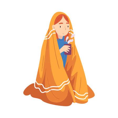 Illustration for Pretty Girl Sitting Under Plaid Enjoying Hot Drink Mug, Girl Drinking Beverage Wrapped in Blanket Vector Illustration - Royalty Free Image