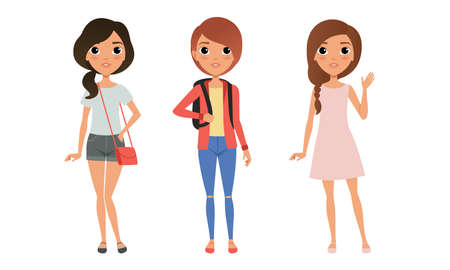 Illustration pour Three Girls Dressed in Trendy Clothes Standing Together, Group of Cute Teenagers Characters Cartoon Style Vector Illustration Isolated White Background. - image libre de droit