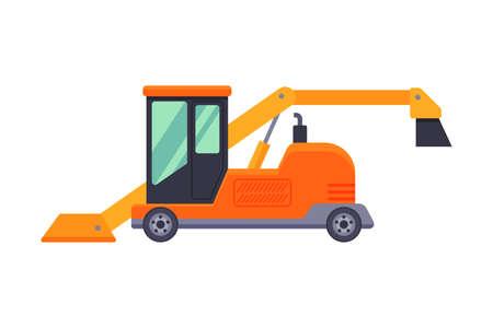 Illustration pour Winter Snow Removal Machine, Professional Cleaning Road Vehicle Vector Illustration - image libre de droit