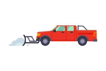 Illustration pour Snow Plow Pick Up Truck, Winter Snow Removal Machine, Cleaning Road Vehicle Vector Illustration - image libre de droit