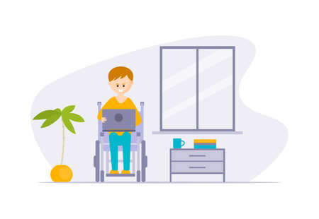 Illustration pour Young Disabled Man in Wheelchair Using Laptop Computer at Home Cartoon Vector Illustration - image libre de droit