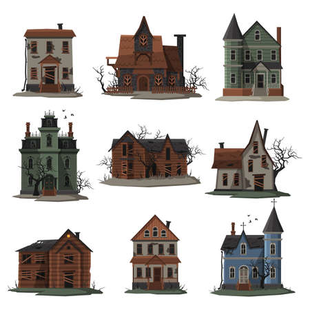 Illustration pour Scary Houses Collection, Halloween Haunted Mansions with Boarded Up Windows Vector Illustration on White Background - image libre de droit