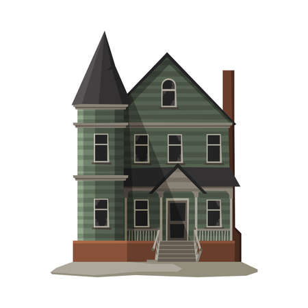 Illustration pour Scary Gothic House, Halloween Haunted Mansion Vector Illustration on White Background - image libre de droit
