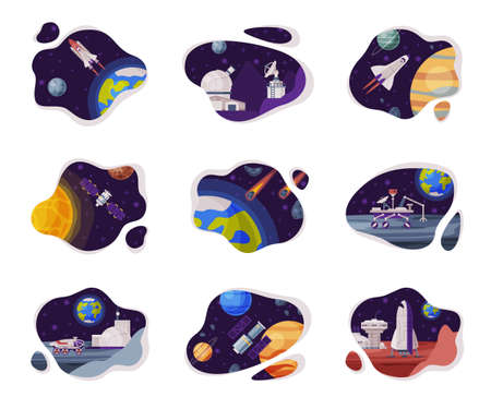 Illustration for Space Scenes Set, Cosmos Industry Exploration Concept Themed Vector Illustration Backgrounds - Royalty Free Image