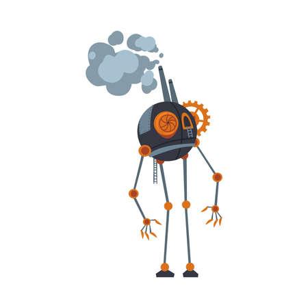 Illustration pour Steampunk Robot, Antique Mechanical Device or Mechanism, Stylized Cartoon Style Vector Illustration - image libre de droit