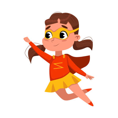 Illustration pour Cute Girl Playing Superhero Wearing Colorful Costume and Mask, Adorable Kid in Superhero Pose Cartoon Style Vector Illustration - image libre de droit