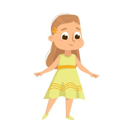 Ilustración de Beautiful Little Girl in Elegant Yellow Dress, Cute Kid Wearing Nice Clothes Cartoon Style Vector Illustration - Imagen libre de derechos