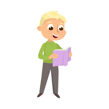 Illustration for Cute Intelligent Boy Reading Book, Education and Knowledge Concept Cartoon Style Vector Illustration - Royalty Free Image