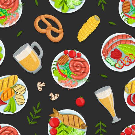 Illustration pour Traditional German Cuisine Dishes Seamless Pattern, Oktoberfest Festival Backdrop, Wallpaper, Packaging, Textile Design Vector Illustration - image libre de droit