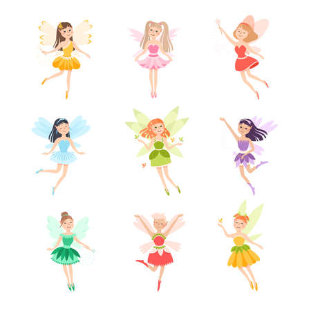 Illustration pour Cute Girls Fairies with Wings Set, Lovely Winged Elves Princesses in Fancy Dress Cartoon Style Vector Illustration - image libre de droit