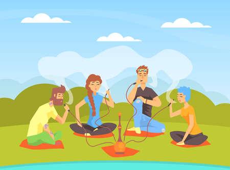 Illustration pour Young People Smoking Hookah while Sitting on Summer Natural Landscape Cartoon Vector Illustration - image libre de droit