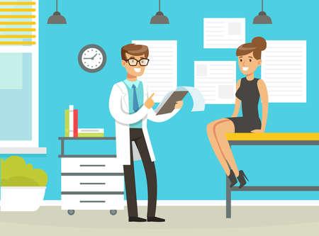 Illustration pour Man Doctor at His Cabinet Giving Advice to His Patient Vector Illustration - image libre de droit
