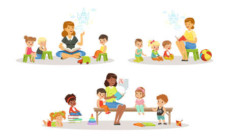 Illustration pour Teacher Reading Book to Kids in Kindergarten Set, Boys and Girls Listening to Fairy Tale in Classroom at Primary School Cartoon Vector Illustration - image libre de droit